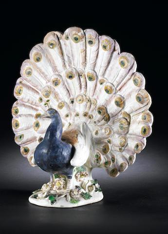 A rare Meissen model of a peacock circa 1741