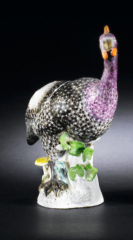 A Meissen model of a guinea fowl circa 1741
