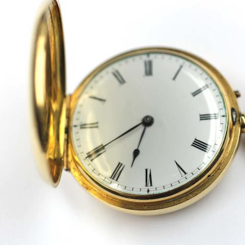 An 18ct gold keyless wind full hunter Swiss fob watchCirca 1900