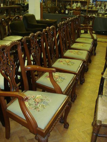 A set of eight reproduction mahogany dining chairs, in the manner of Chippendale