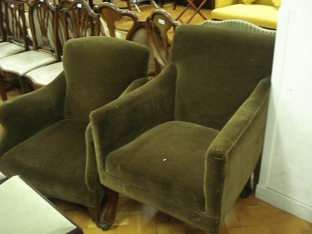 Two late 19th Century/early 20th Century mahogany-framed upholstered armchairs