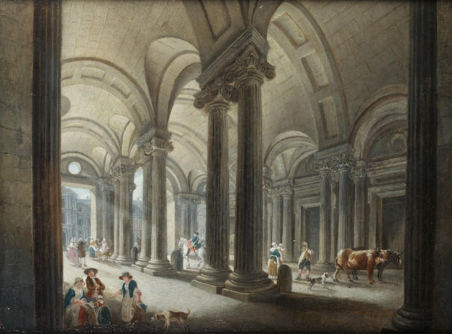 Pierre Antoine Demachy (Paris 1723-1807 Louvre) The Louvre from the entrance to the Palais Royal