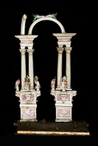 Fragments of a Meissen model of a classical temple