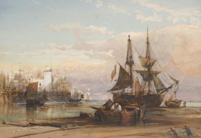 William James Callcott (British, active 1843-1890) On Scarborough Sands - sunset