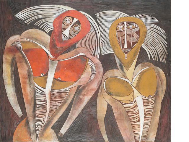Cecil Skotnes (South African, 1926-2009) Shaka, coloured and incised panel