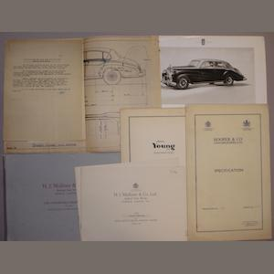 Assorted coachbuilders specification sheets and catalogues,