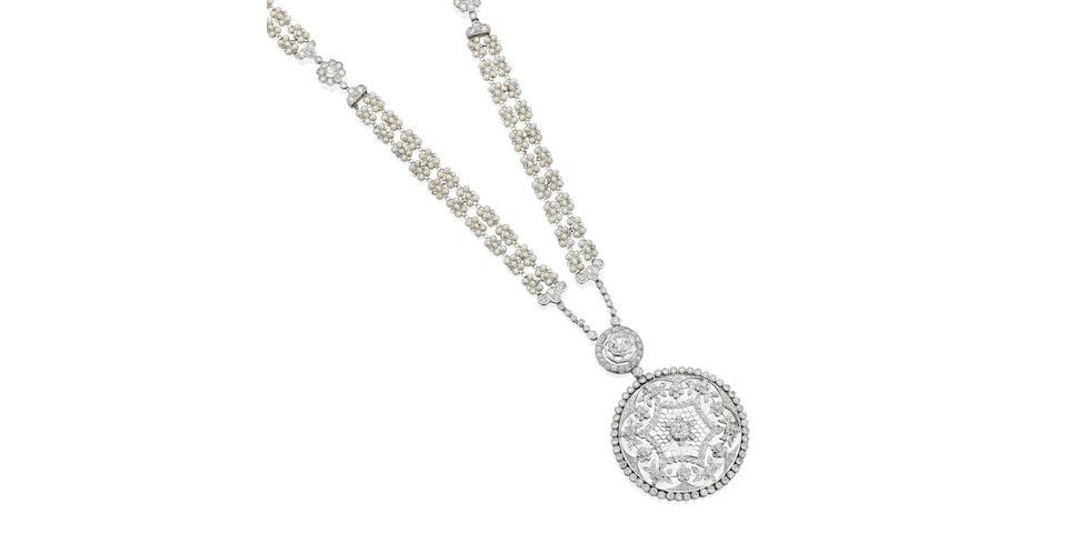 A Belle Époque pearl and diamond sautoir