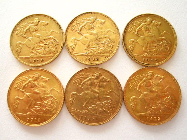 A collection of six half sovereigns