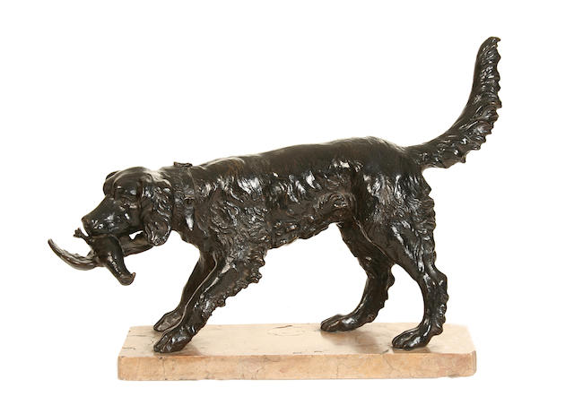 An early 20th century copper clad model of a retriever