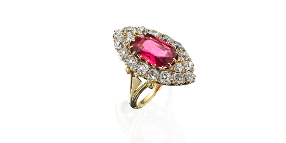 A late 19th century spinel and diamond ring