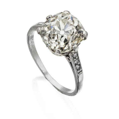 An old cushion-cut diamond single-stone ring