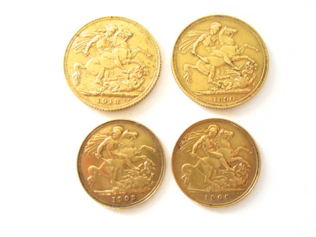 A collection of sovereigns and half sovereigns