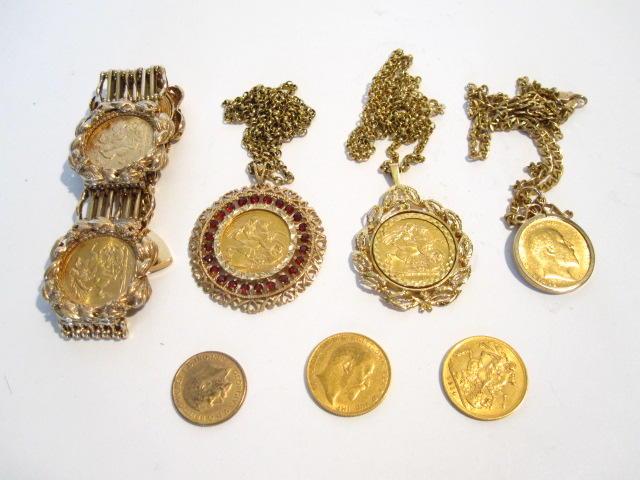 A collection of sovereigns and sovereign set jewellery
