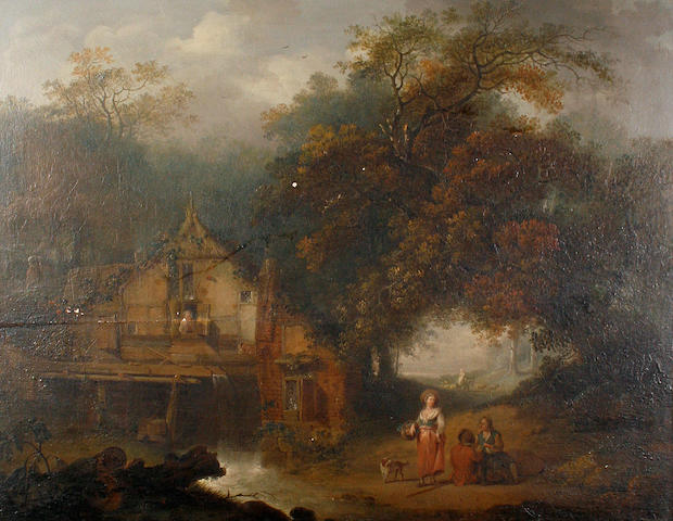 Circle of George Smith of Chichester (Chichester 1714-1776) A mill and figures in a wooded landscape