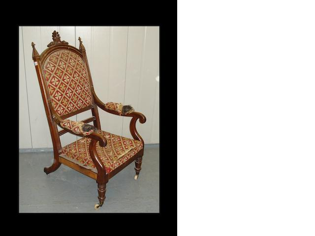 A Victorian Gothic revival rosewood open armchair,