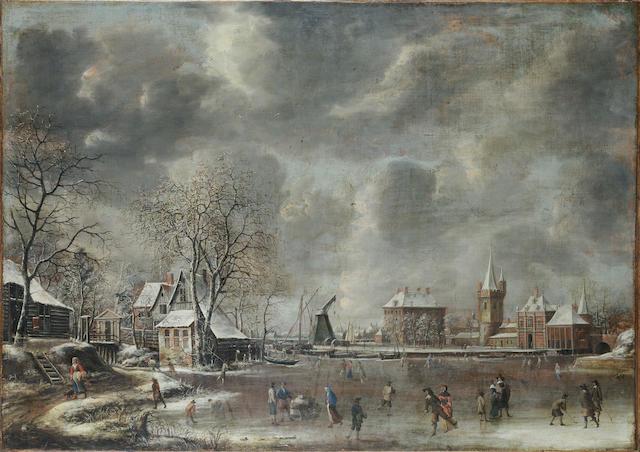 Jan Abrahamsz Beerstraten (Amsterdam 1622-1666) Figures skating on a frozen lake