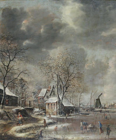 Jan Abrahamsz Beerstraten (Amsterdam 1622-1666) Figures skating on a frozen lake