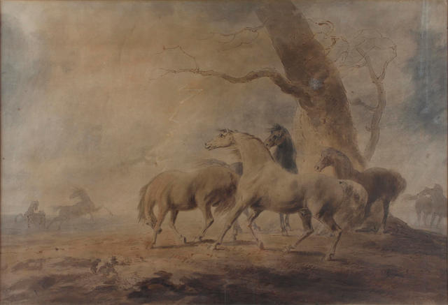 Sawrey Gilpin (British, 1733-1807) Horses by a tree in a stormy lanscape