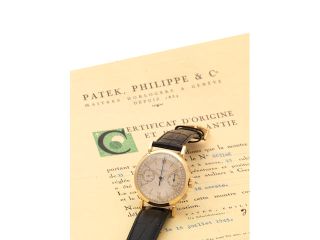 Patek Philippe. A fine and rare 18ct gold chronograph wristwatch with pulsation dial and Original Certificate of OriginRef:591,  Case:631635, Movement No.863106, Made in 1943, Sold July 16th 1943
