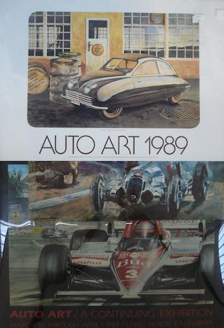 Three Auto Art exhibition posters,
