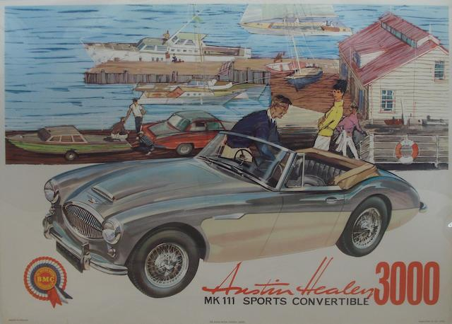 A BMC Austin Healey 3000 MK III advertising poster,