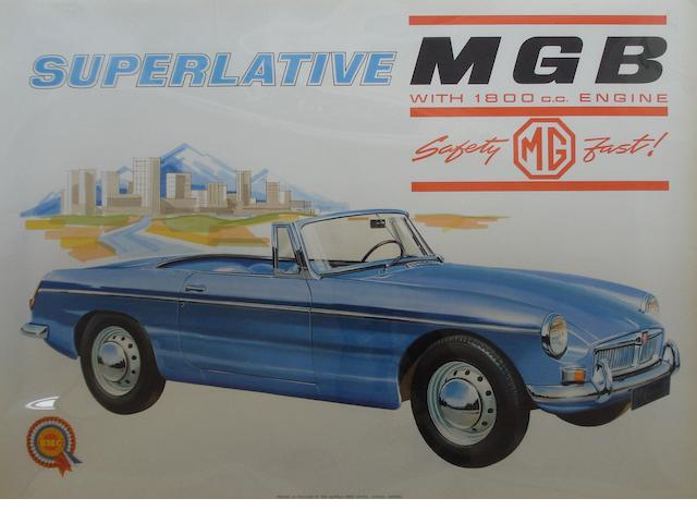A BMC 'Superlative MGB' advertising poster,