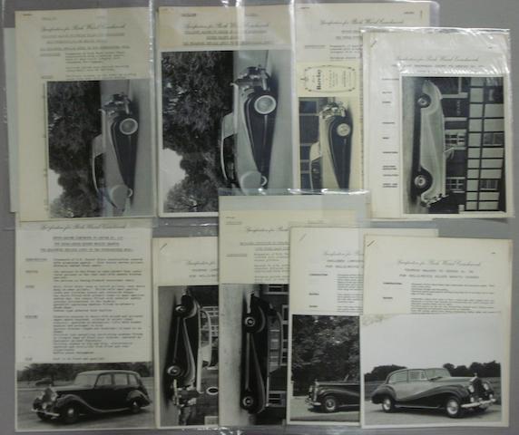 Nine Park Ward Rolls-Royce specification sheets,