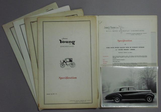 Five James Young Rolls-Royce specification folders,