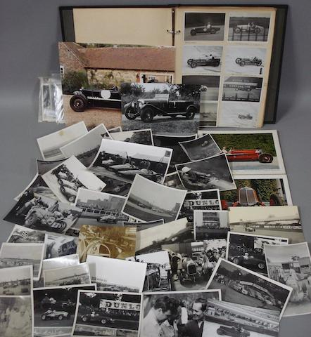 A quantity of photographs depicting pre War racing cars,