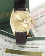 Rolex. A fine 14ct gold automatic calendar wristwatch with original Datejust box and rating certificateDatejust, Ref:1601, Serial No.928824, Sold 24th January 1966