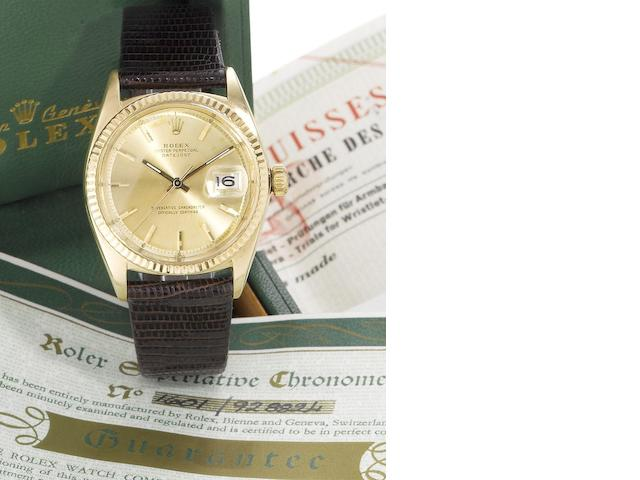 Rolex. A fine 14ct gold automatic calendar wristwatch with original Datejust box and rating certificate Datejust, Ref:1601, Serial No.928824, Sold 24th January 1966