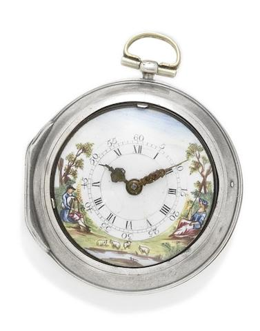 James Oswald. A silver pocket watch with painted enamel dial in earlier pair case Number 1398, inner case hallmarked London 1780