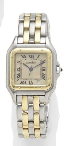 Cartier. A stainless steel and gold quartz calendar bracelet watchPanthere