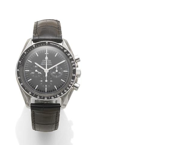 Omega. A stainless steel manual wind chronograph wristwatch Speedmaster, reference: 77137018, recent