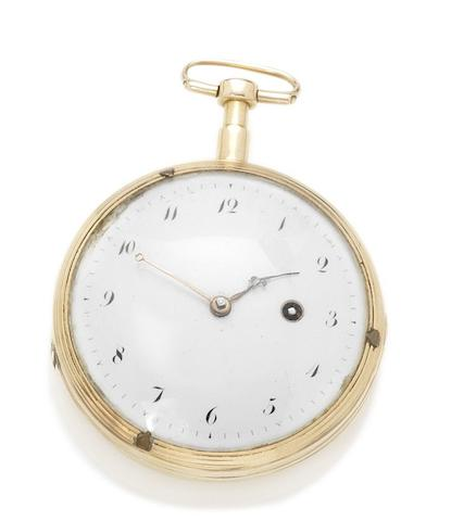 French. An 18ct rose gold open face quarter repeating pocket watch Circa 1810