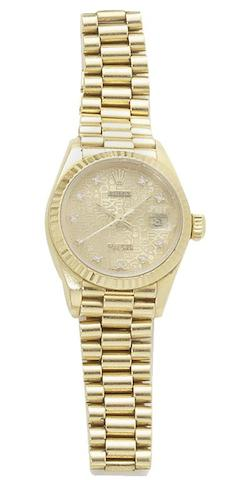 Rolex. A lady's 18ct gold automatic wristwatch Datejust, reference 69178, case number L602135