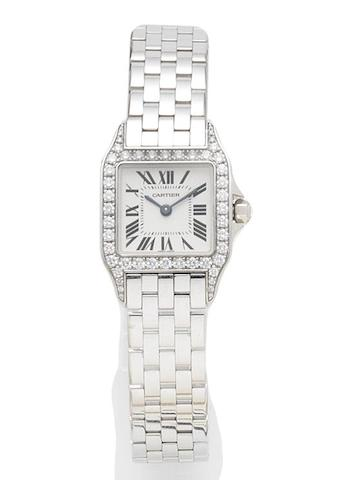 Cartier. A lady's 18ct white gold and diamond set quartz bracelet watchRecent