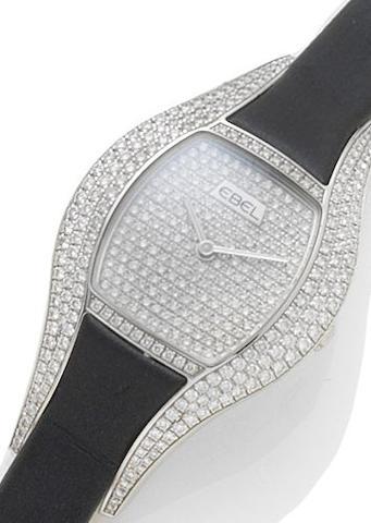 Ebel. A lady's 18ct white gold and diamond set quartz wristwatch Moon Chic, Recent