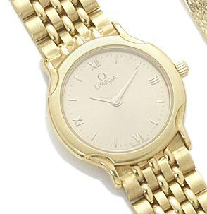 Omega. A lady's 18ct gold quartz wristwatch Circa 1990