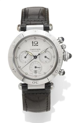 Cartier. A stainless steel automatic chronograph wristwatch Pasha, reference: 2113, case number: CC475179, recent