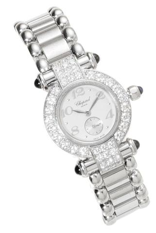 Chopard. An 18ct white gold quartz diamonds set wristwatch Imperiale, reference: 4156, case number: 657782, sold 19th October 1998