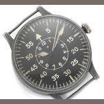 Laco. A base metal manual wind World War II German military pilot's watch Circa 1940