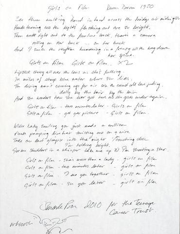 Duran Duran: A set of handwritten lyrics by Simon Le Bon for 'Girls On Film', 2010,