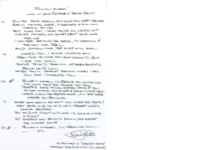 Doug Flett: A set of handwritten lyrics for 'Fallen Angel' from the musical 'The Jersey Boys',
