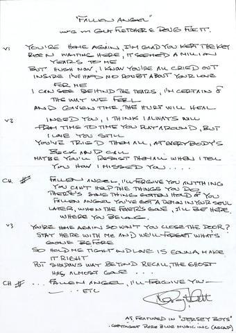 Doug Flett: A set of handwritten lyrics for 'Fallen Angel' from the musical 'The Jersey Boys',