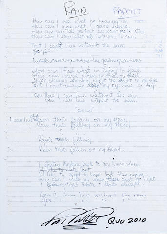 Status Quo: A signed photocopied set lyrics for 'Down Down' and 'Rain',