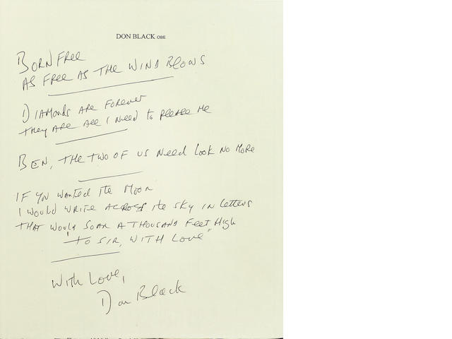 Don Black: Part handwritten lyric for four of his most famous compositions - Born Free, Diamonds Are Forever, Ben and To Sir With Love,