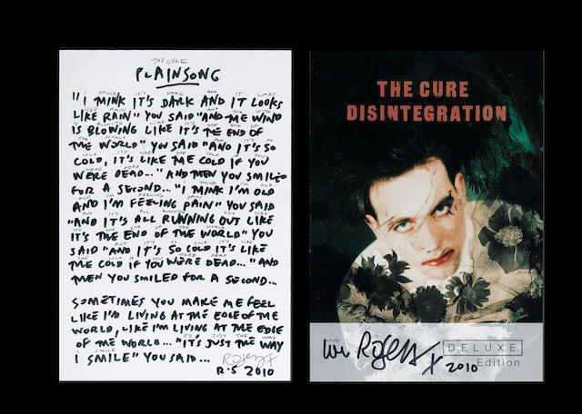 The Cure: A set of handwritten lyrics, for 'PLAINSONG', 2010,