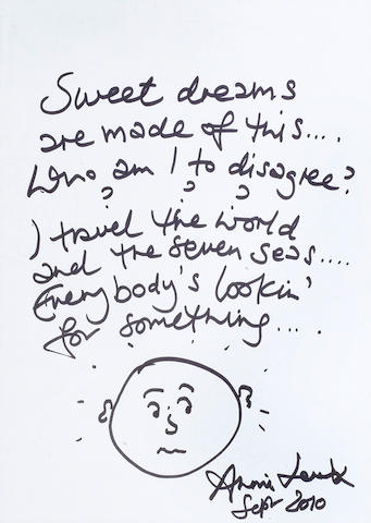 Annie Lennox: A part set of handwritten lyrics for the Eurythmics song 'Sweet Dreams', September 2010,