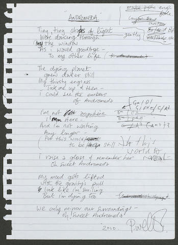 Paul Weller: A set of original handwritten lyrics and chord progression for 'Andromeda', 2010,